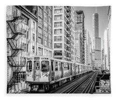 The Wabash L Train In Black And White Fleece Blanket