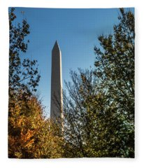 The Washington Monument In Fall Fleece Blanket