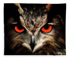 The Watcher - Owl Digital Painting Fleece Blanket