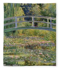 The Waterlily Pond With The Japanese Bridge Fleece Blanket