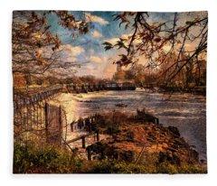 The Weir At Teddington Fleece Blanket