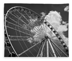 The Wheel And Sky In Black And White Fleece Blanket