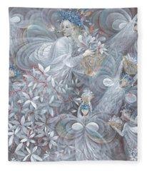 The White Hibiscus Fleece Blanket