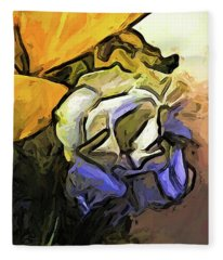 The White Rose And The Yellow Petals Fleece Blanket