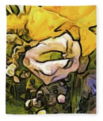 The White Rose With The Eye And Gold Petals Fleece Blanket