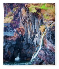 The Wild Atlantic Cliffs Of Camara De Lobos On The Islandof Madeira Fleece Blanket