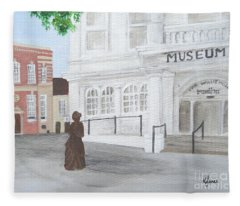 The Willis Museum Basingstoke With Jane Austen Statue Fleece Blanket