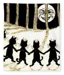The Wink Six Black Pussy Cats Fleece Blanket