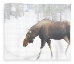 The Winter Moose Fleece Blanket