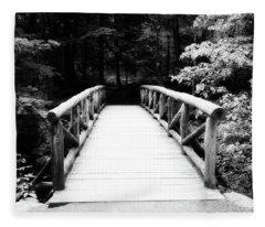 The Wooden Bridge In Black And White Fleece Blanket