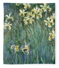 The Yellow Irises Fleece Blanket
