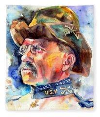 Theodore Roosevelt Painting Fleece Blanket