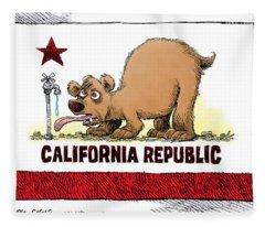 Thirsty California Flag Fleece Blanket