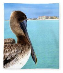 This Is My Town - Pelican At Clearwater Beach Florida  Fleece Blanket