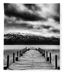 Landscape With Lake And Snowy Mountains In The Argentine Patagonia - Black And White Fleece Blanket