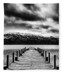 Dramatic Black And White Scene In The Argentine Patagonia Fleece Blanket
