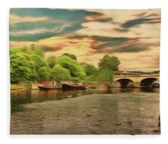 This Morning On The River Fleece Blanket