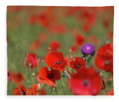 Thistle In A Sea Of Red Fleece Blanket