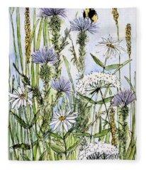 Thistles Daisies And Wildflowers Fleece Blanket