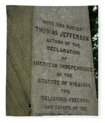 Thomas Jefferson Tombstone Close Up Fleece Blanket
