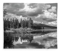 Thompson Lake In Black And White Fleece Blanket