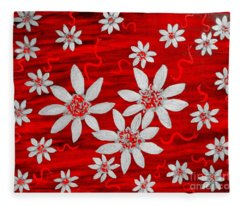 Three And Twenty Flowers On Red Fleece Blanket