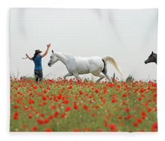 Three At The Poppies' Field Fleece Blanket