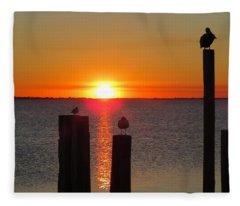 Three Birds In The Sunset Fleece Blanket