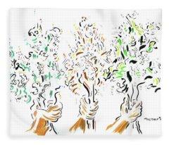 Three Bouquets Fleece Blanket