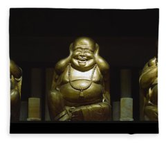 Three Buddhas Fleece Blanket