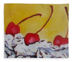 Three Cherries Fleece Blanket