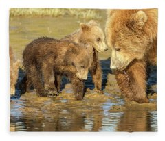 Three Cubs And Mother Drinking At The River Fleece Blanket