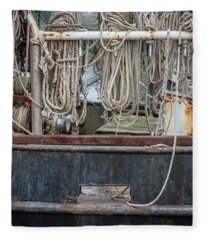 Three Fishing Ropes On Shrimp Boat  Fleece Blanket