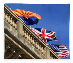 Three Flags At London Bridge Fleece Blanket