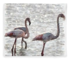 Three Flamingos Watercolor Fleece Blanket