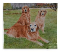 Three Goldens Fleece Blanket