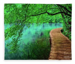 Tree Hanging Over Turquoise Lakes, Plitvice Lakes National Park, Croatia Fleece Blanket