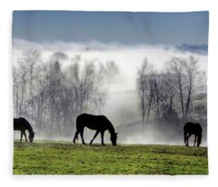 Three Horse Morning Fleece Blanket