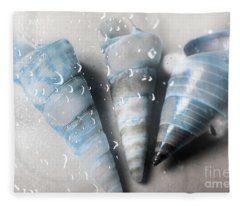 Three Little Trumpet Snail Shells Over Gray Fleece Blanket