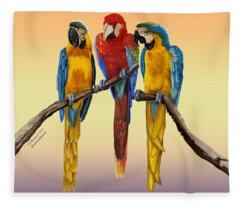 Three Macaws Hanging Out Fleece Blanket