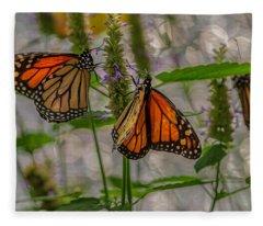 Three Monarch Butterfly Fleece Blanket