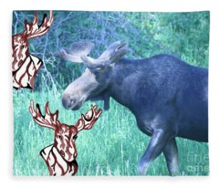 Three Moose Fleece Blanket