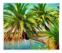 Three Palms On The Loop Fleece Blanket