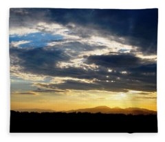 Three Peak Sunset Swirl Skyscape Fleece Blanket
