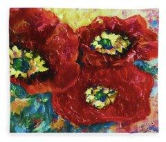 Three Poppies  Fleece Blanket
