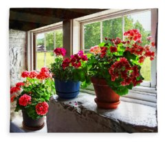 Three Pots Of Geraniums On Windowsill Fleece Blanket