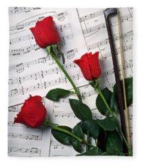 Three Red Roses  Fleece Blanket