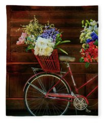 Three Speed Flower Bicycle Fleece Blanket