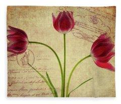 Three Tulips Letter Fleece Blanket