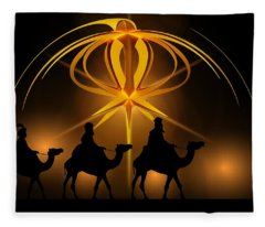 Three Wise Men Christmas Card Fleece Blanket
